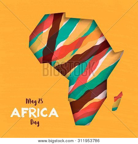 Africa Day greeting card illustration for 25 may celebration. African continent papercut map with colorful abstract art. poster