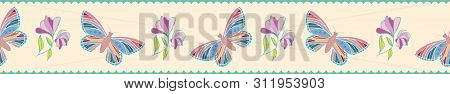 Vintage Style Hand Drawn Butterflies And Flowers Border. Seamless Vector Pattern With Scalloped Past