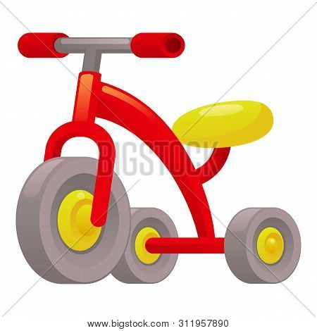 Red Tricycle Icon. Cartoon Of Red Tricycle Icon For Web Design Isolated On White Background