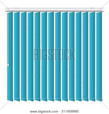 Vertical Blue Jalousie Icon. Realistic Illustration Of Vertical Blue Jalousie Icon For Web Design Is