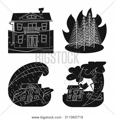 Vector Design Of Calamity And Crash Symbol. Set Of Calamity And Disaster Stock Symbol For Web.