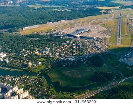Aerial view of Vnukovo international airport, Russia