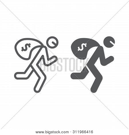 Robbery Line And Glyph Icon, Crime And Burglary, Thief With Money Bag Sign, Vector Graphics, A Linea