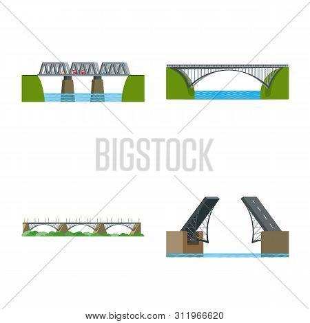 Vector Design Of Bridgework And Bridge Symbol. Set Of Bridgework And Landmark Vector Icon For Stock.