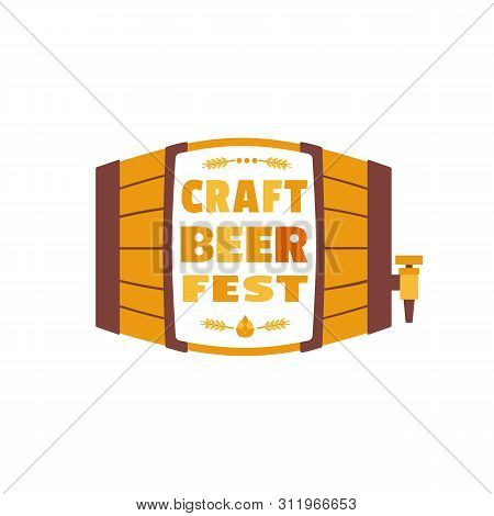 Beer Fest Hand Drawn Flat Color Vector Icon. Craft Beer Festival Fun Lettering Design Element. Beer