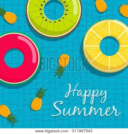 Happy Summer Greeting Card Illustration Of Fun Life Savers And Pineapple Fruits Floating On Pool Wat