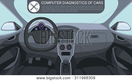 Computer Diagnostics Car. Car Interior Inside. Service Station. Auto Service. Automotive Parts. Icon