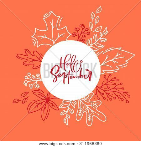 Hand Drawn Autumn Typography Poster. White Monoline Leaves With Calligraphic Text Hello September In