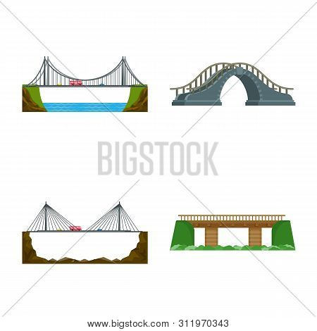 Vector Illustration Of Bridgework And Bridge Symbol. Collection Of Bridgework And Landmark Stock Vec