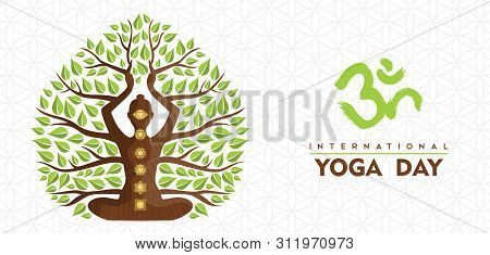 International Yoga Day Banner Illustration Of Woman Silhouette, Chakra Icons And Tree Leaves For Nat