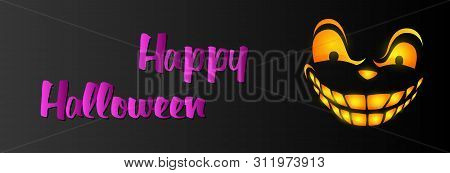 Happy Halloween Greeting Card Design With Grinning Face On Black Background. Halloween Concept. Vect