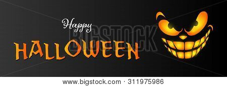 Happy Halloween Greeting Card With Orange Smiling Face On Black Background. Halloween Concept. Vecto