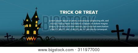 Trick Or Treat Text With Haunted House And Graveyard On Blue Background. Halloween Greeting Card. Ve