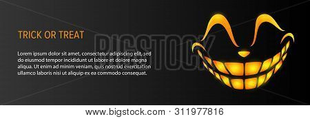 Trick Or Treat Text With Orange Grin On Black Background. Halloween Concept. Vector Illustration Can