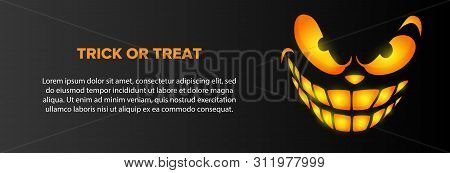 Trick Or Treat Text With Orange Smiling Face On Black Background. Halloween Greeting Card. Vector Il