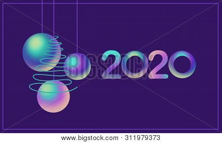 2020 Colorful Font And Nacre Balls, Green Tree On Violet Background. Holiday  Illustration. Design F