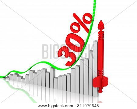 Graph Of Rapid Growth. Growth Of Thirty Percentages. Graph Of Rapid Growth With Inscription 30% (thi