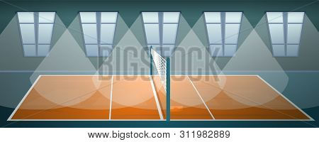 Volleyball Arena Concept Banner. Cartoon Illustration Of Volleyball Arena Concept Banner For Web Des
