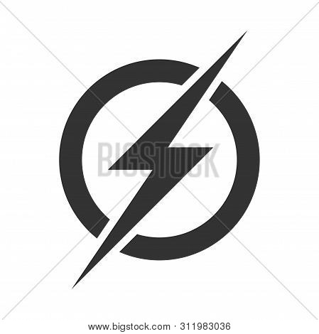 Power Lightning Logo. Vector Mobile Phone Electric Charging Plug And Usb Icon