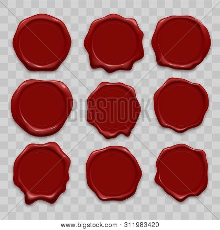 Stamp Wax Seals Vector Set. Red Sealing Wax Stamps, Realistic Isolated Labels On Transparent Backgro