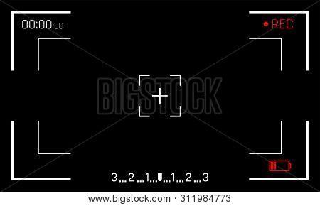 Camera Frame Viewfinder Screen Frames On Black Background. Vector Video Recorder Digital Display Or