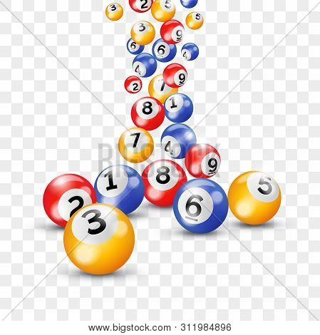 Bingo Lottery Balls Splash. Vector Keno Lotto Number Balls On Transparent Background