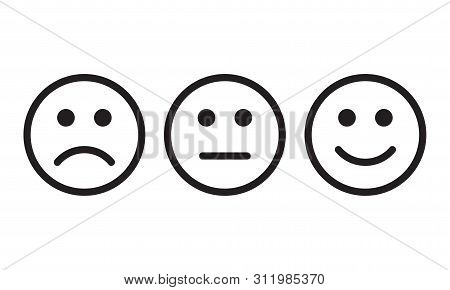 Face Smile Vector Icon. Positive, Negative And Neutral Bad Opinion Rate Signs