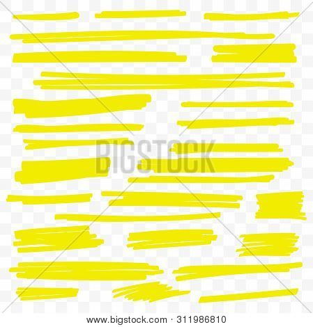 Yellow Highlight Marker Lines. Vector Isolated Yellow Highlighter Strokes Set On Transparent Backgro