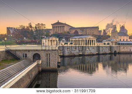 Philadelphia, Pennsylvania, USA Waterworks Skyline
