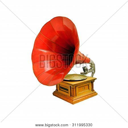 Vintage Musical Gramophone Photographed Closeup On White Background