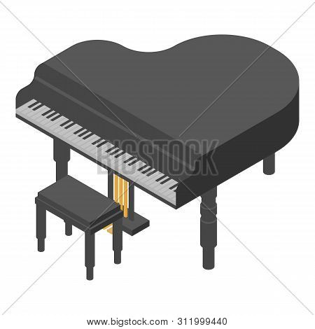 Concert Grand Piano Icon. Isometric Of Concert Grand Piano Vector Icon For Web Design Isolated On Wh