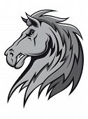 Angry wild stallion in cartoon design for mascot or equestrian sports design poster