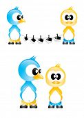 Cute editable cartoon birds poster