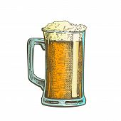 Hand Drawn Mug With Froth Bubble Beer Drink . Full Mug With Handle And Alcoholic Fresh Cold Brewery Liquid Light Ale. Closeup Color Template Cartoon Illustration poster