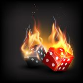 vector burning dice on dark background poster