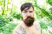Heat concept. Hipster wet skin and hair survive heat. Vacation resort. Extreme heat. Man thirsty sweaty hipster naked in forest. Summer heat. Bearded tattooed guy relax in nature hot summer day. poster