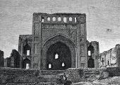 "The ruins of the Persian mosque near Ashgabat. Engraving by  from picture by  Perro. Published in magazine ""Niva"", publishing house A.F. Marx, St. Petersburg, Russia, 1888 poster"