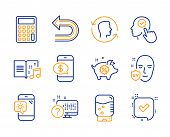 Undo, Piggy sale and Select user icons simple set. Face id, Weather phone and Calculator signs. Uv protection, Online quiz and Phone payment symbols. Music book, Water cooler and Confirmed. Vector poster