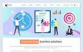 Implementing business solution vector, boss with time clock looking for deadline, target and aim, freelancer with laptop man and woman with puzzle. Website or webpage template, landing page flat style poster