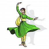 illustration of Indian classical dancer performing kathak poster