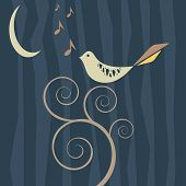 Vector image of a retro style songbird at night poster