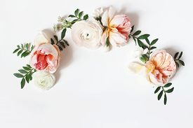 Decorative Wreath, Floral Garland, Composition With Pink English Roses, Ranunculus And Green Leaves