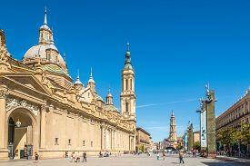 Zaragoza,spain - May 11,2019 - View At The Basilica Of Our Lady Of The Pillar In Zaragoza. Zaragoza