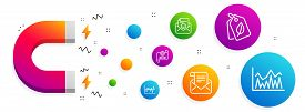 Magnet Attracting. Bio Tags, Stock Analysis And Cogwheel Blueprint Icons Simple Set. Mail Newsletter