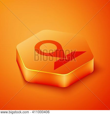 Isometric Map Pin Icon Isolated On Orange Background. Navigation, Pointer, Location, Map, Gps, Direc