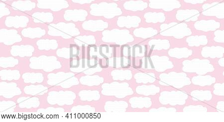 Cute Vector Border With Hand Drawn Irregular Fluffy Clouds On Pink Background. Seamless Banner With