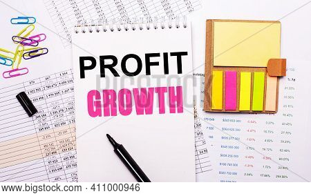A Notebook With The Words Profit Growth, A Marker, Colored Paper Clips And Bright Note Paper Lie On