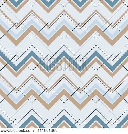 Blue And Beige Zig Zag Lines Seamless Repeating Pattern With Light Sky Blue Background. Vector Illus