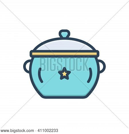 Color Illustration Icon For Pot Utensil Casserole Vessel Steamship Accessory Appliance Cookery Cuisi