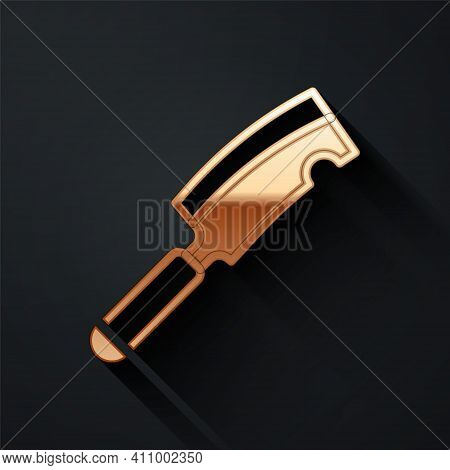 Gold Meat Chopper Icon Isolated On Black Background. Butcher Knife. Kitchen Knife For Meat. Butcher
